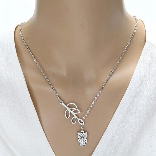 Silver crescent moon with owl pendant charm necklace animal hug leaf owl pendant necklace aloadofball Image collections