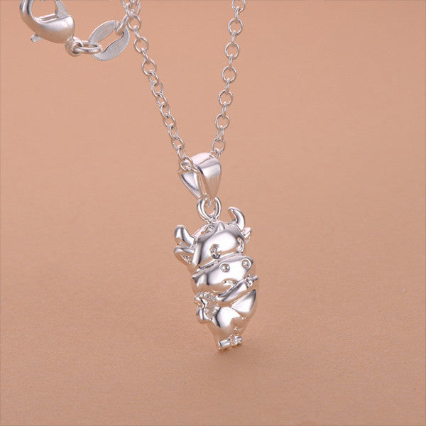 Silver plated cow pendant animal hug silver plated cute cow necklace mozeypictures Images
