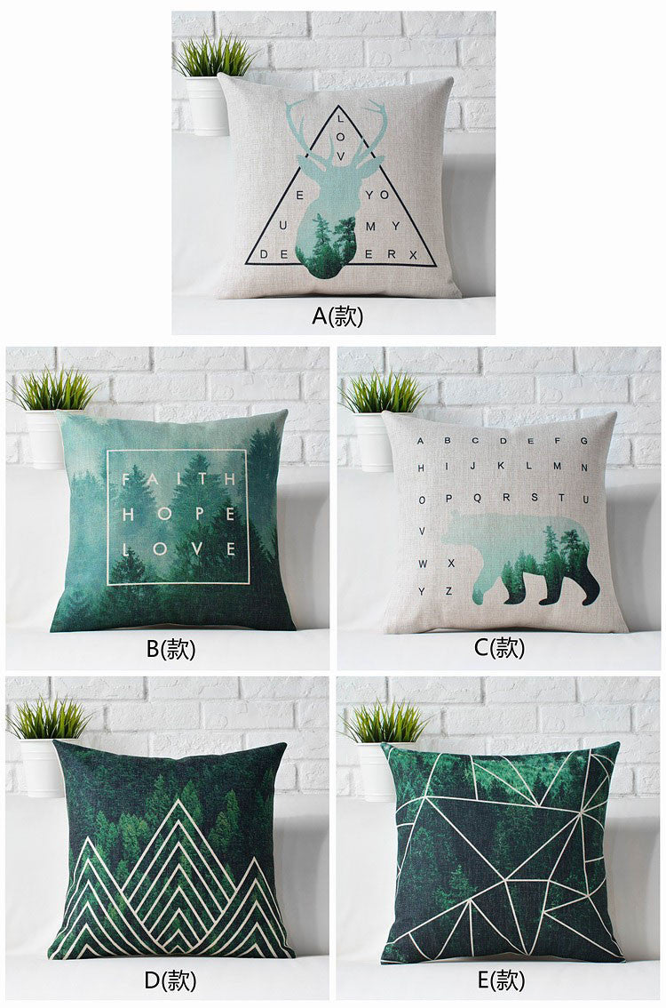 Nordic Dark Green Deer Pillow