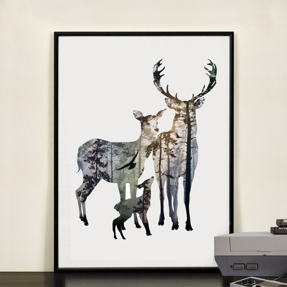 Silhouette Of Deer Family Wall Painting