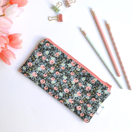 Green Rosa Floral Pencil Pouch