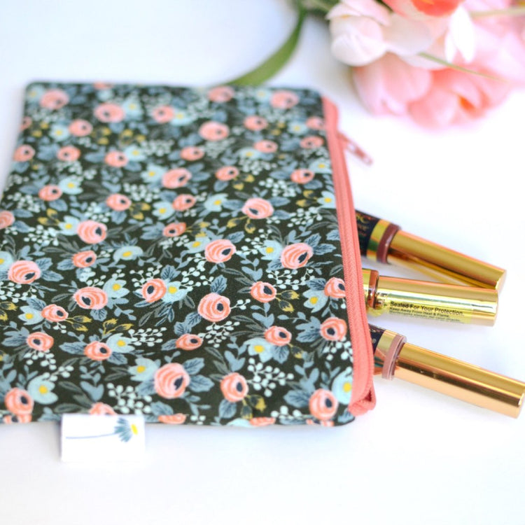 Green Rosa Floral Zipper Pouch