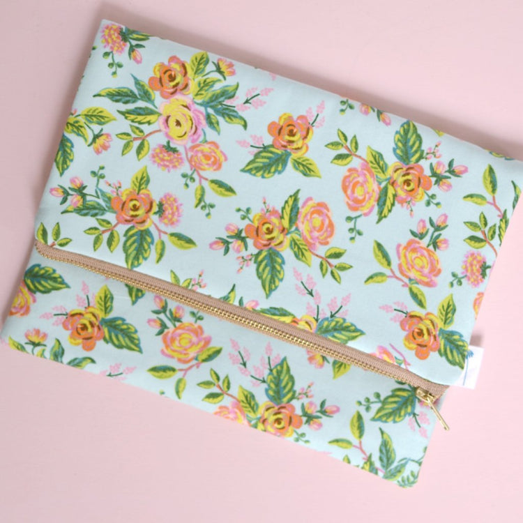 Oversized Foldover Clutch in Mint Paris Floral