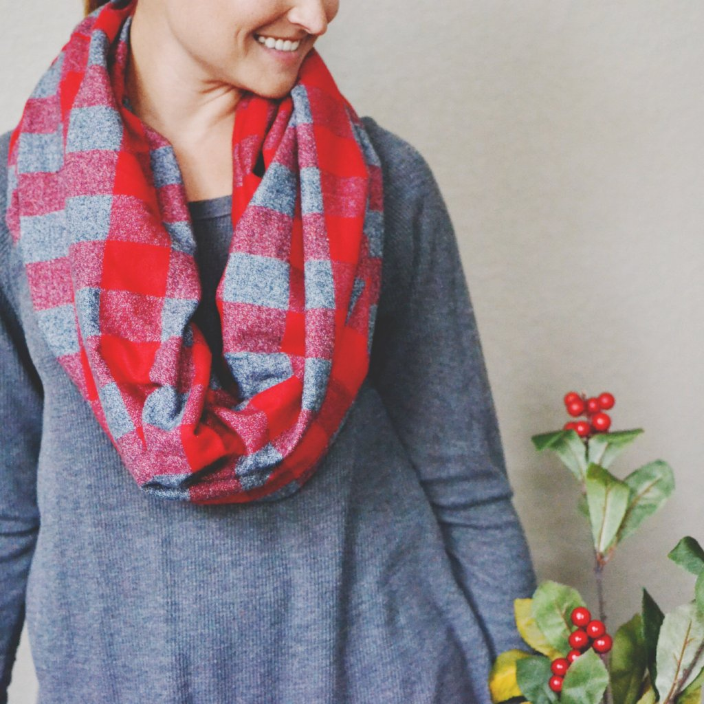 Red and Gray Buffalo Plaid Cowl