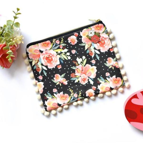 Snowberry Floral Pom-Pom Clutch