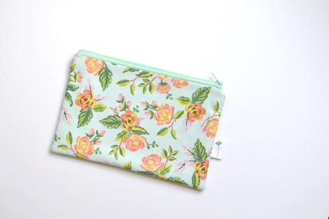Paris Floral Zipper Pouch in Mint