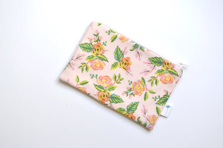 Paris Floral Zipper Pouch in Pink