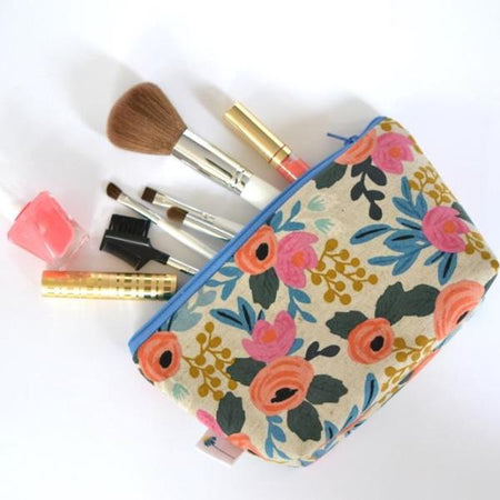Large Zipper Pouch in Rosa Floral