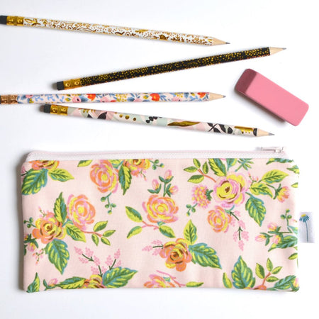 Paris Floral Pencil Pouch in Pink