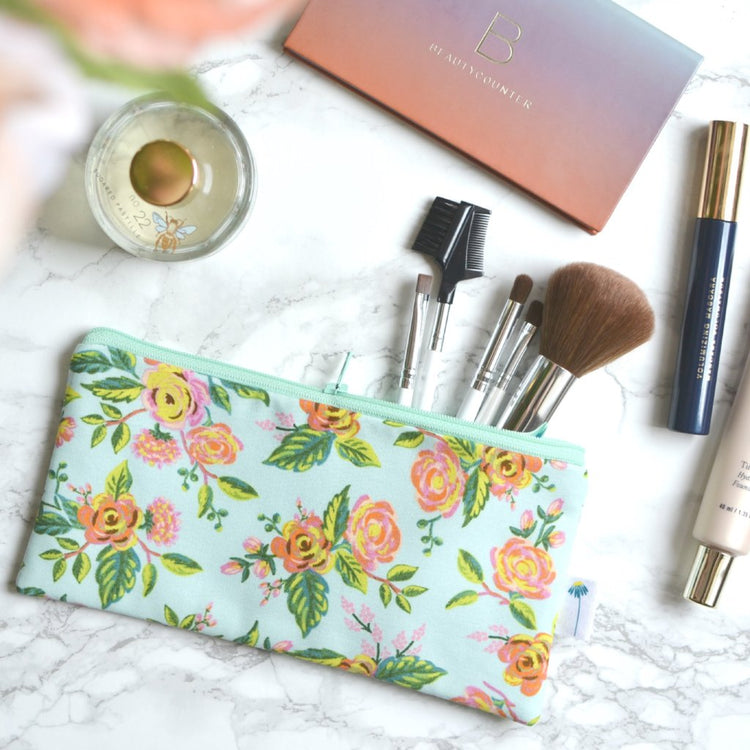 Paris Floral Pencil Pouch in Mint