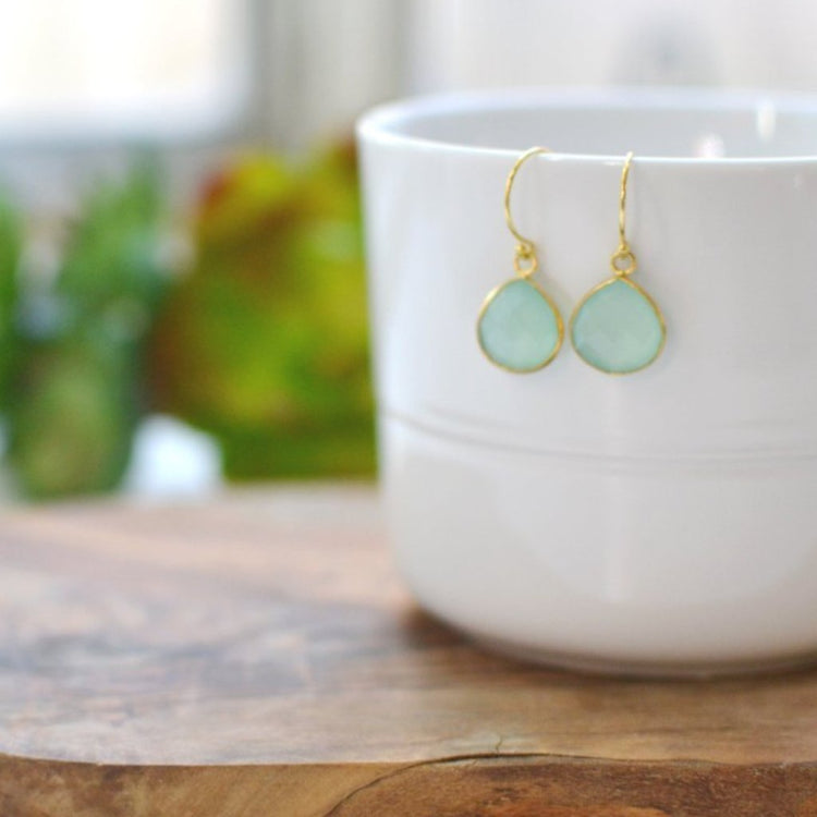 Dainty Drop Earring in Chalcedony