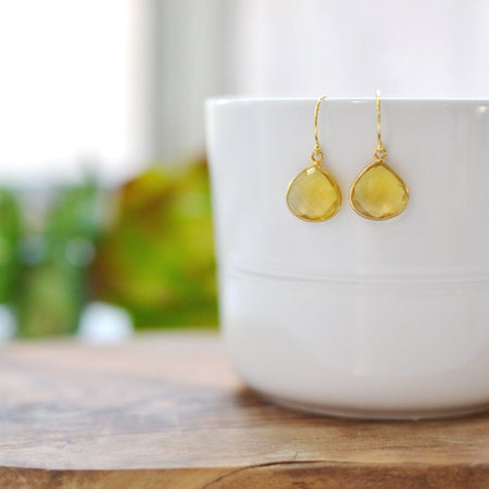 Dainty Drop Earring in Honey Citrine Quartz