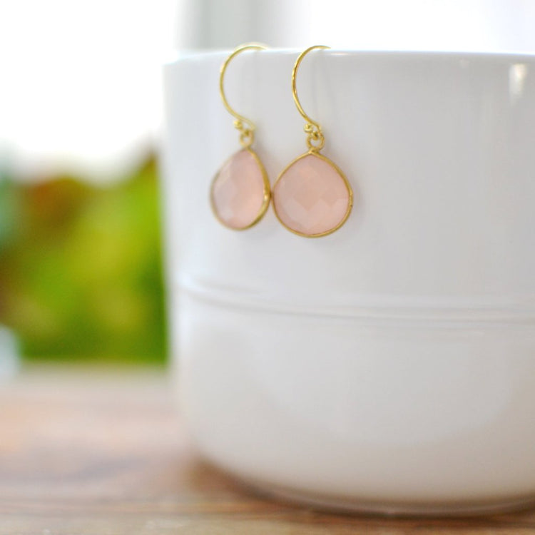 Dainty Drop Earring in Rose Quartz