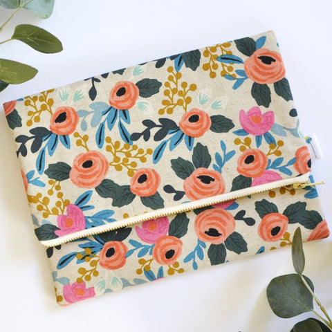 Oversized Foldover Clutch in Rosa Floral