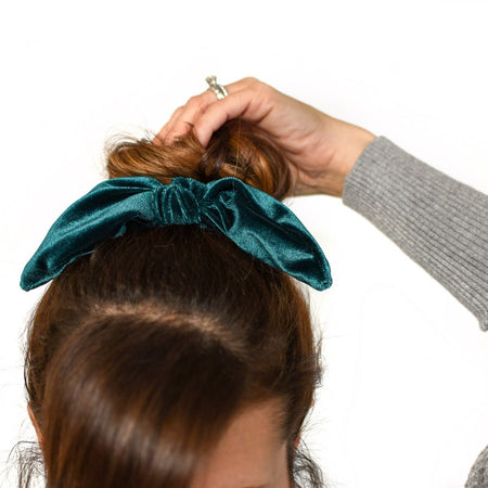 Emerald Velvet Bow Scrunchie