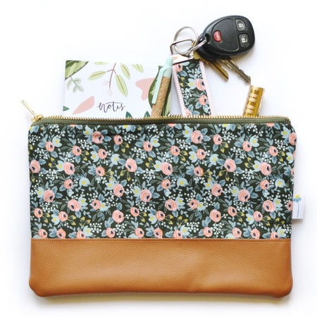 Signature Leather Clutch in Olive Rosa Floral