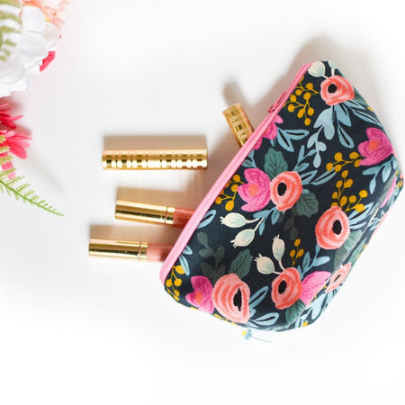 Large Zipper Pouch in Navy Rosa Floral