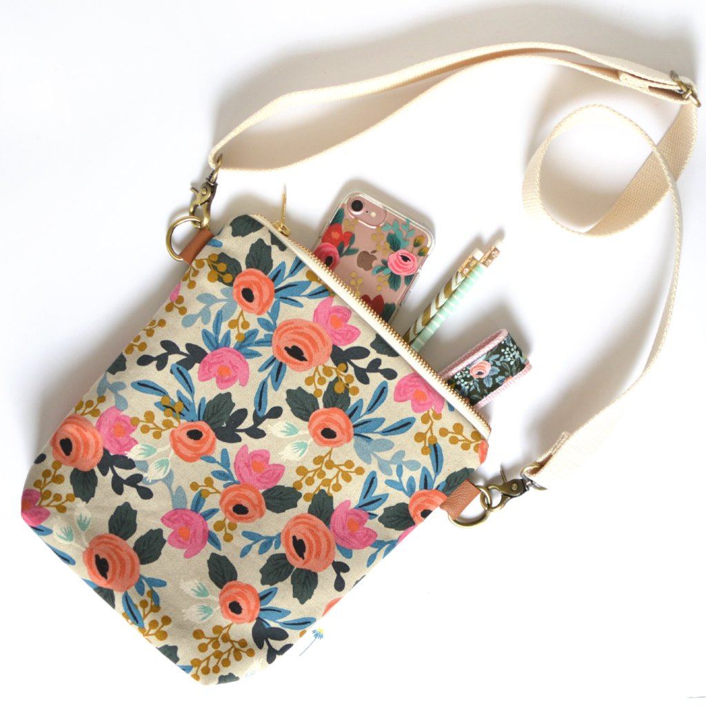 Rosa Floral Crossbody Bag in Natural