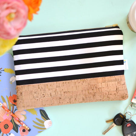 Signature Cork Clutch in Black Stripe