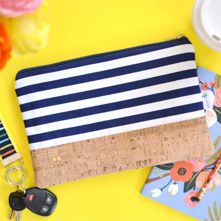 Signature Cork Clutch in Navy Stripe