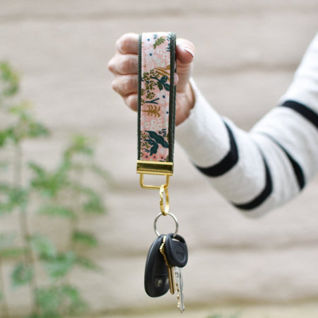 Tapestry Key Fob in Blush - gold