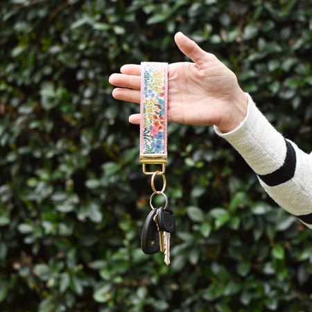 Tapestry Key Fob in Pink - gold