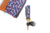 Rosa Floral Key Fob in Navy - gold