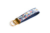 Rosa Floral Key Fob in Periwinkle - gold