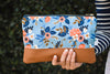 Signature Leather Clutch in Blue Birch Floral