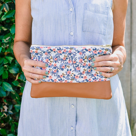 Signature Leather Clutch in Periwinkle Rosa Floral