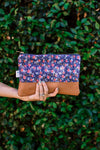 Signature Leather Clutch in Navy Rosa Floral