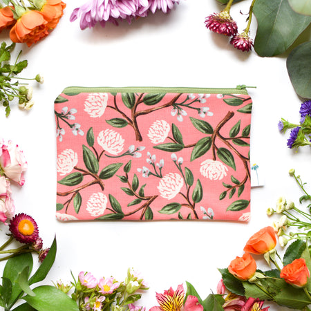 Coral Peony Zipper Pouch