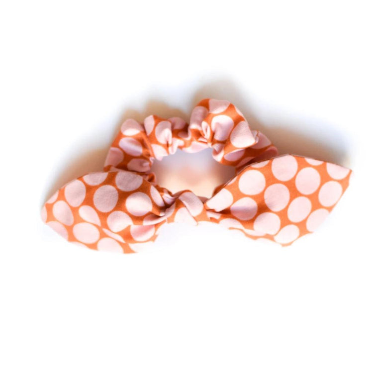 Pink Dots Bow Scrunchie