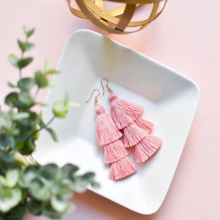 Tassel Earrings in Coral
