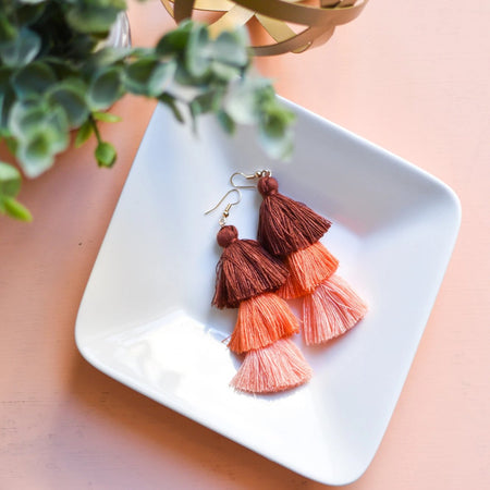 Tassel Earrings in Rust Ombre