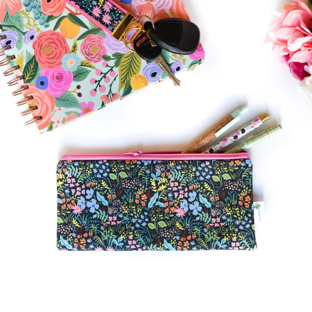 Navy Tapestry Pencil Pouch