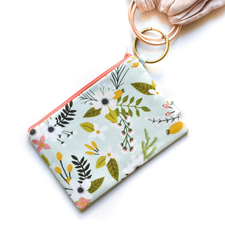 Mint Floral Clip Ring Pouch