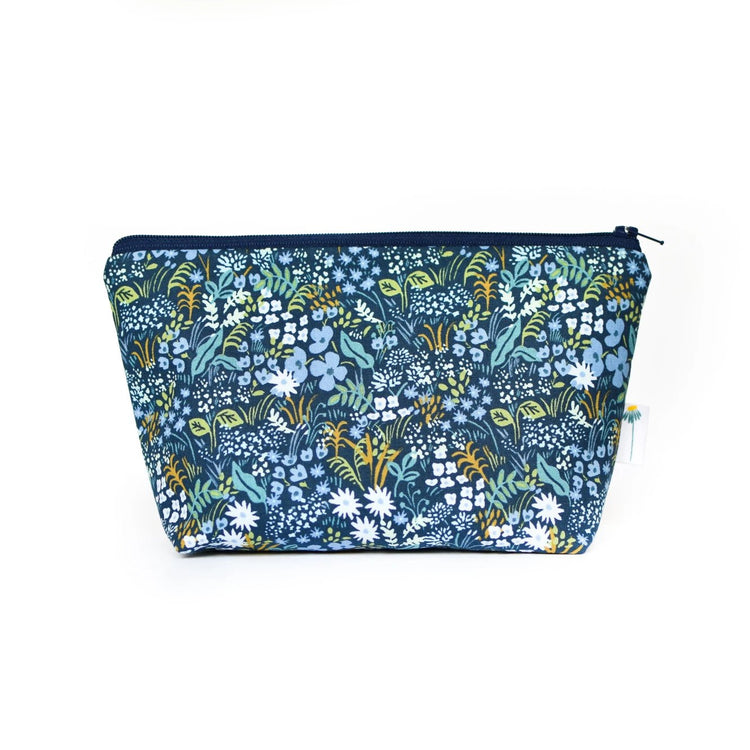 Large Zipper Pouch in Navy Tapestry