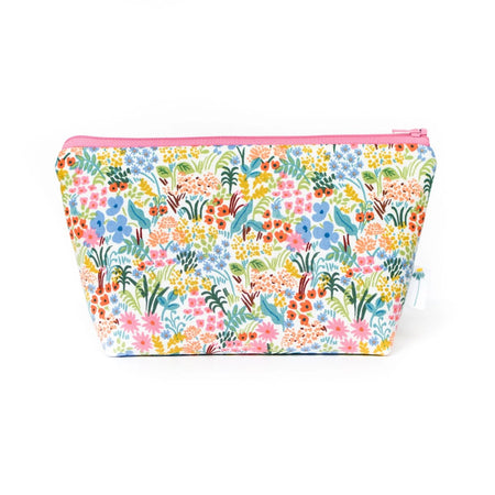 Large Zipper Pouch in Pink Tapestry