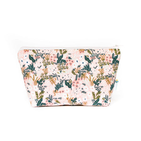 Large Zipper Pouch in Blush Tapestry