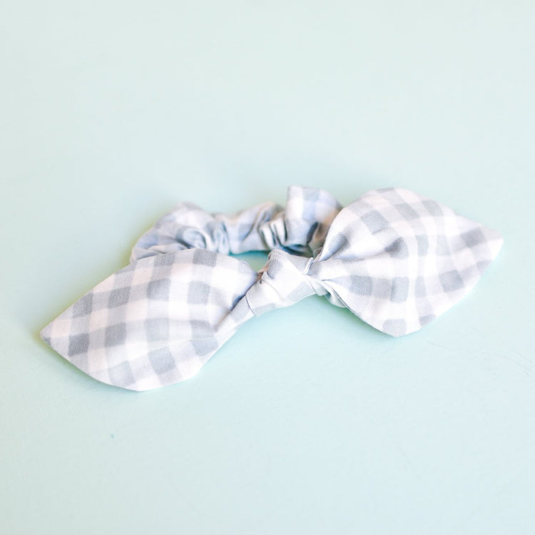 Slate Gingham Bow Scrunchie