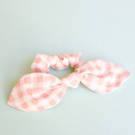 Blush Gingham Bow Scrunchie