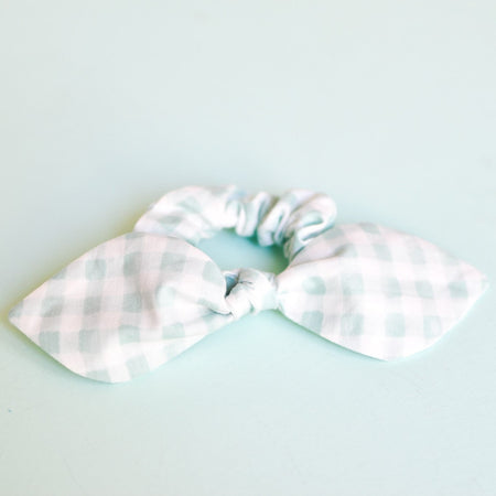 Mint Gingham Bow Scrunchie