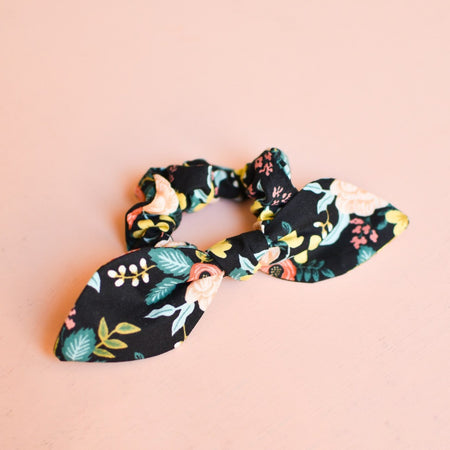 Black Birch Floral Bow Scrunchie