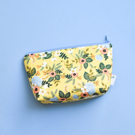 Large Zipper Pouch in Yellow Birch Floral