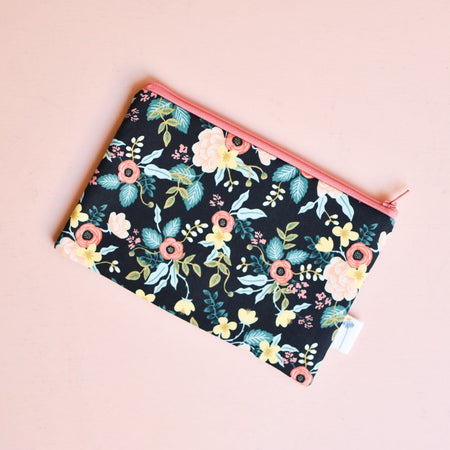 Black Birch Floral Zipper Pouch