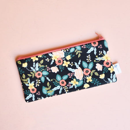 Black Birch Floral Pencil Pouch