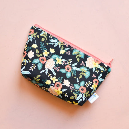 Large Zipper Pouch in Black Birch Floral