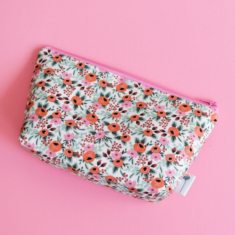 Large Zipper Pouch in Pink Rosa