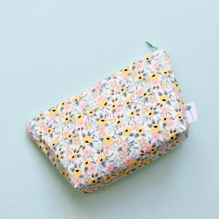Large Zipper Pouch in Mint Rosa